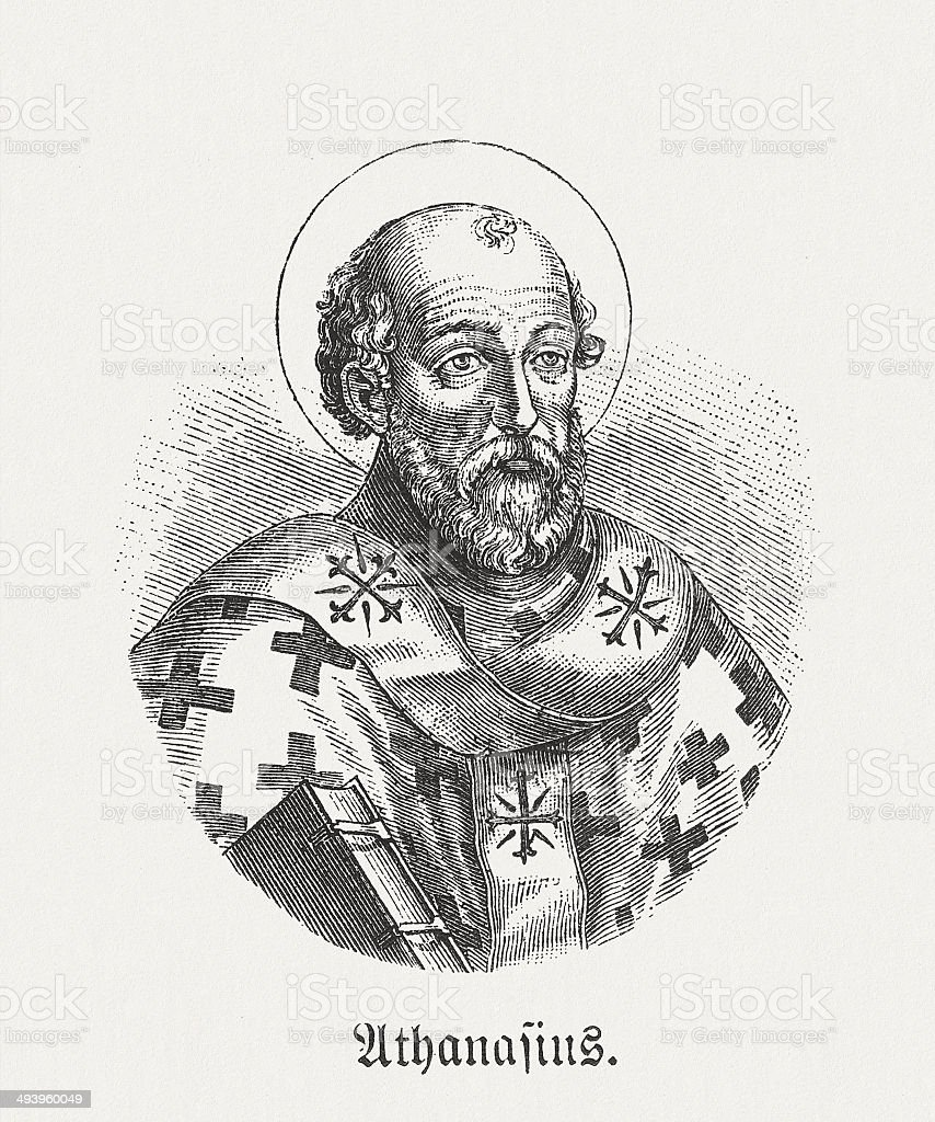 Athanasius of Alexandria (c.298-373), Bishop of Alexandria, published in 1881 royalty-free stock vector art