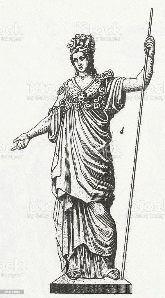 Athena Engraving vector art illustration