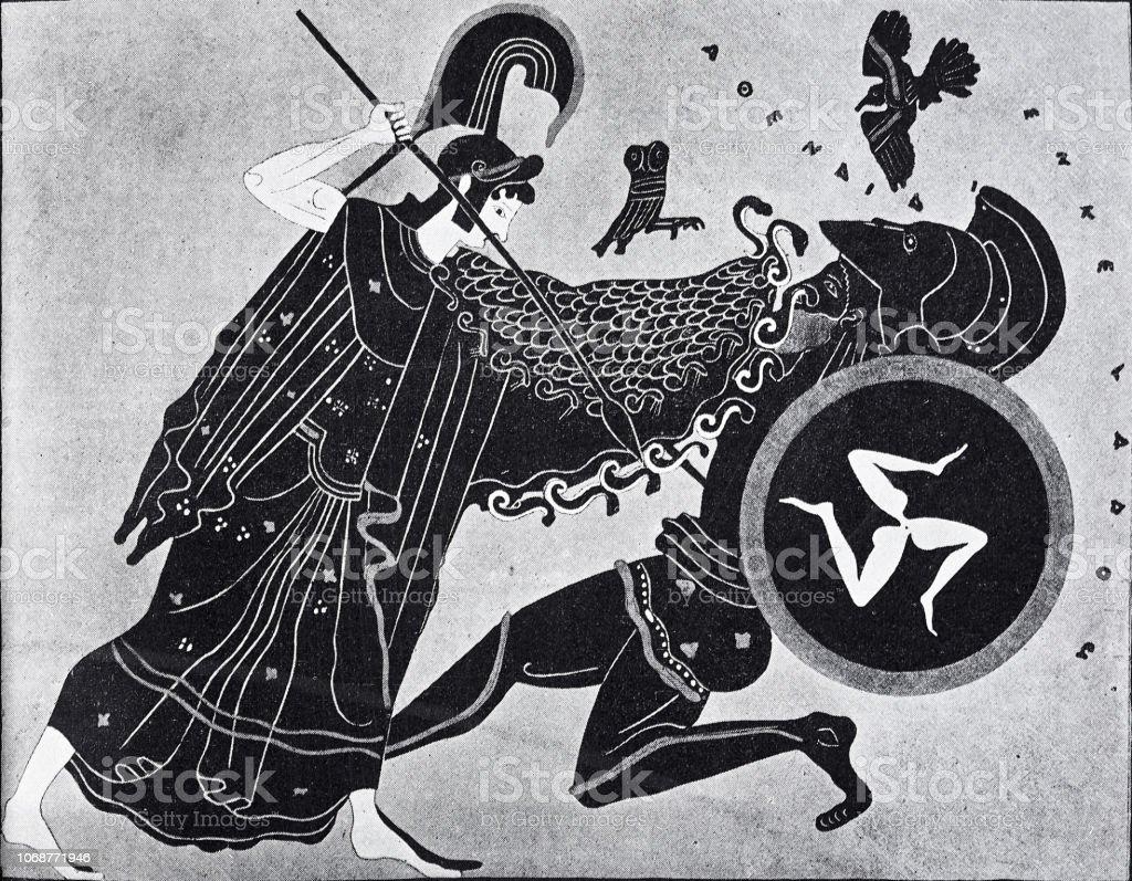 Athena fights the giant Enceladus vector art illustration
