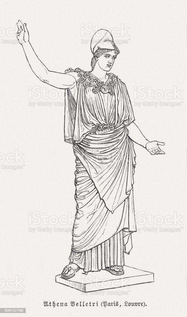 Athena of Velletri, Louvre, Paris, wood engraving, published in 1897 vector art illustration