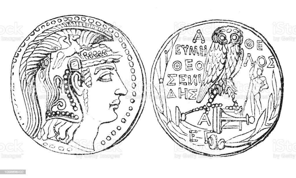 Athenian Attic Standard Silver Tetradrachm Coin (1st Century BC) vector art illustration