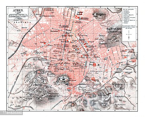 Map of greek city Athens Original edition from my own archives Source :