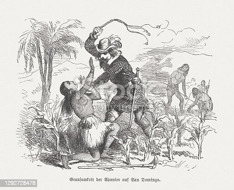 istock Atrocities of the Spaniards on Santo Domingo, woodcut, published 1876 1292728478