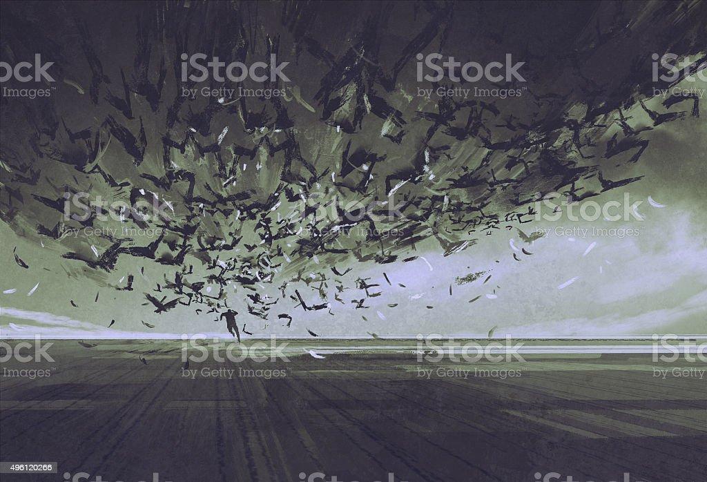 attack of crows,man running away from flock of birds vector art illustration