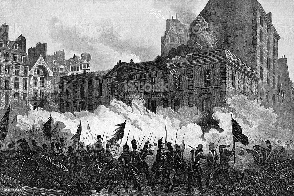 Attack Of The Royal Palace During The French Revolution vector art illustration