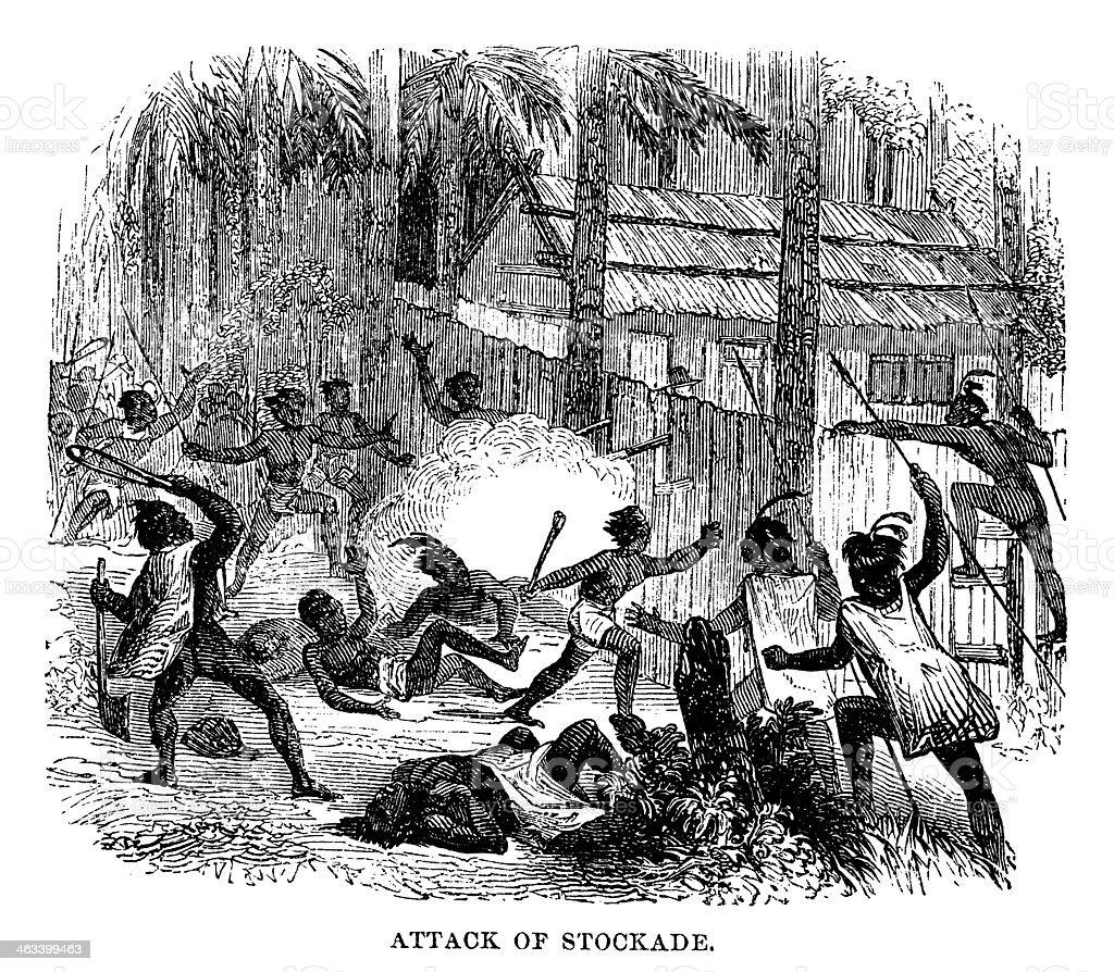 Attack on a stockade royalty-free stock vector art
