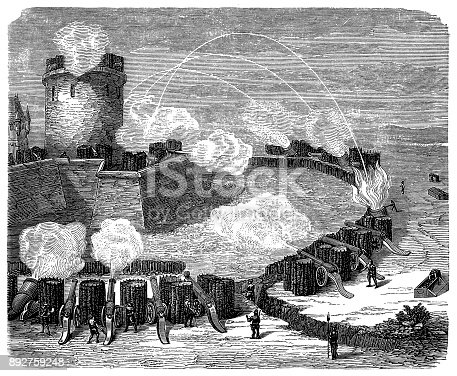 Illustration of a Attack on the fortress in the sixteenth century