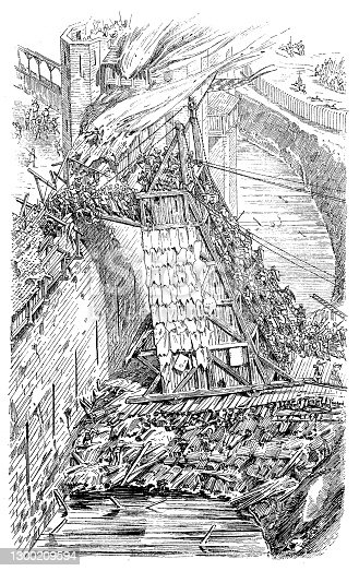 Illustration of a Attacking and defending a castle wall in the 12th century