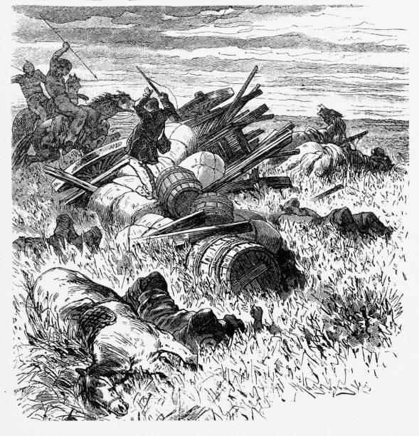 Atacando os imigrantes dos Estados Unidos, índios americanos da gravura, 1884 - ilustração de arte em vetor