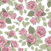 attern with roses on a light background. Seamless texture for decoration, decoration, textiles, cards, nails, prints, scrapbooking paper, etc.