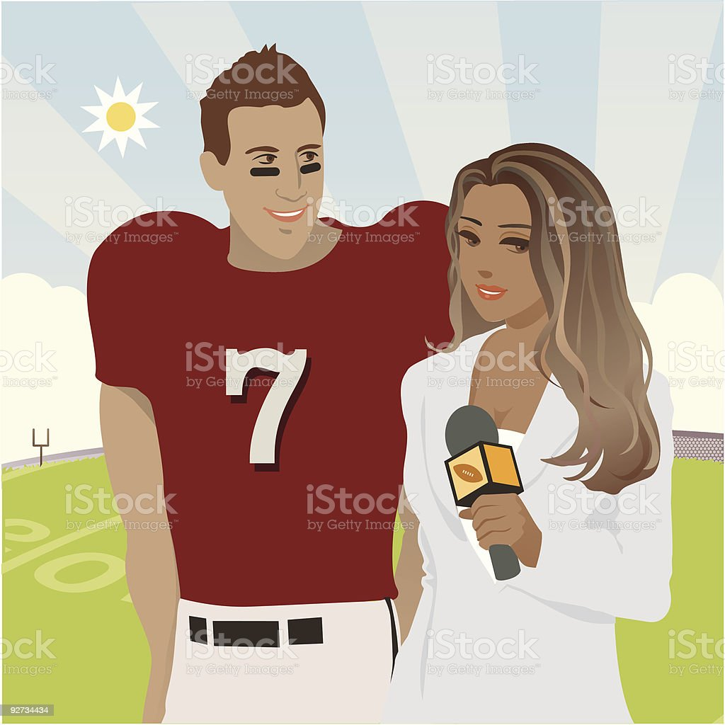 Attractive Female Reporter doing interview with Football Player vector art illustration