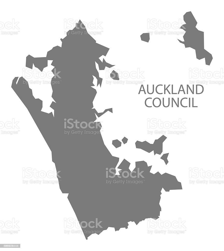 Auckland Council New Zealand Map grey vector art illustration