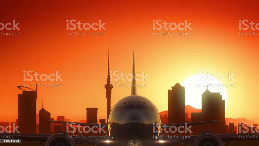 Auckland New Zealand Airplane Take Off Skyline Golden Background vector art illustration