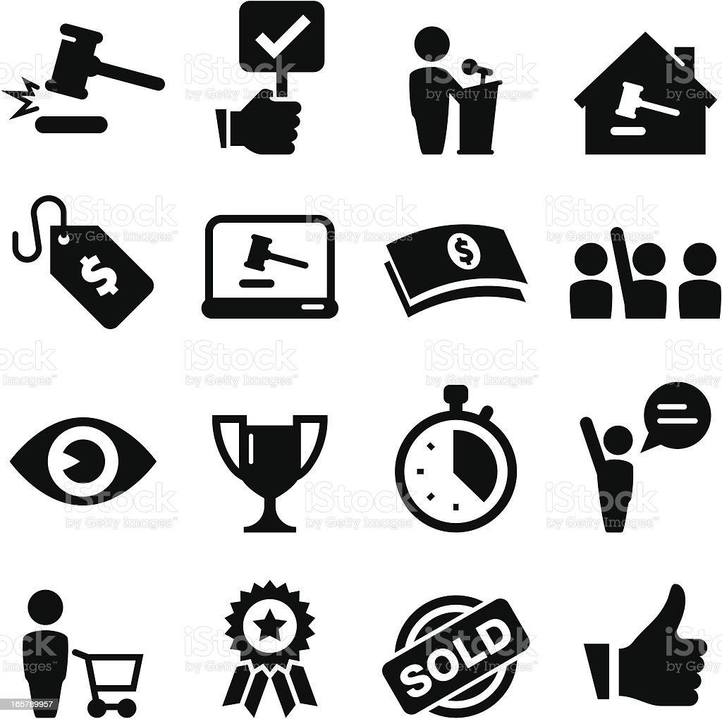 Auction Icons - Black Series vector art illustration