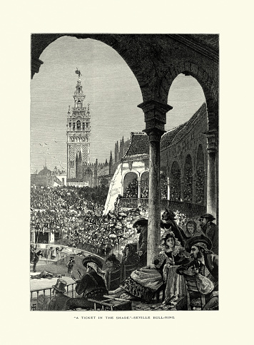 Audience, Bull fighting, Bell tower, Seville, Andalusia, Spain, 19th Century