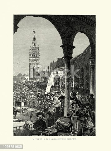istock Audience, Bull fighting, Bell tower, Seville, Andalusia, Spain, 19th Century 1276781605