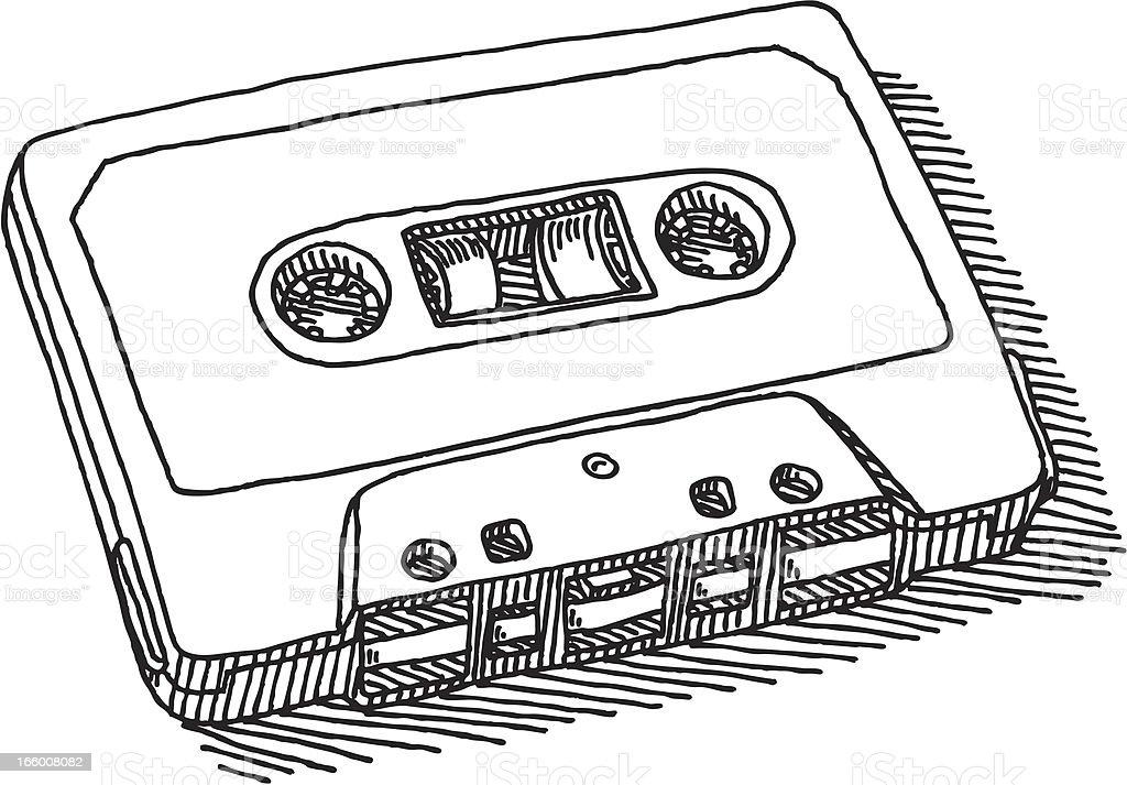 Audio Cassette Drawing vector art illustration