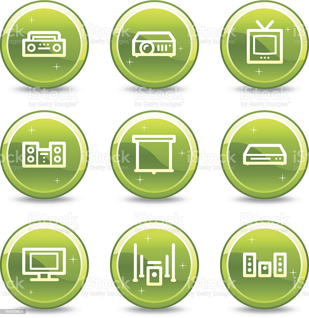 Audio video web icons, green glossy circle buttons series royalty-free stock vector art