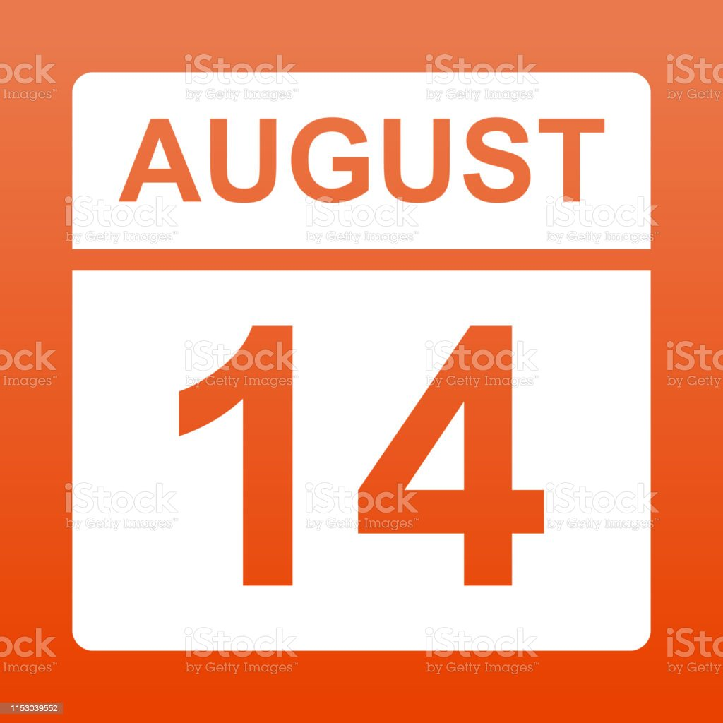 August 14. White calendar on a colored background. Day on the...