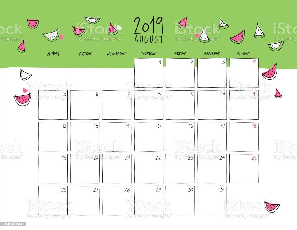Calendario Agosto 2019 Espana.Ilustracion De Calendario De Pared De Agosto De 2019 Y Mas Vectores