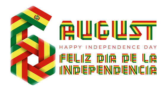 August 6, Bolivia Independence Day congratulatory design with Bolivian flag colors.