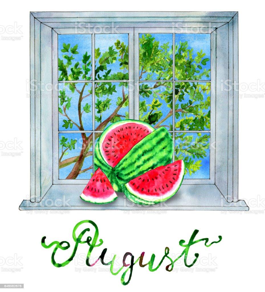 mois daoût melon deau sur le fond avec larbre vert – cliparts