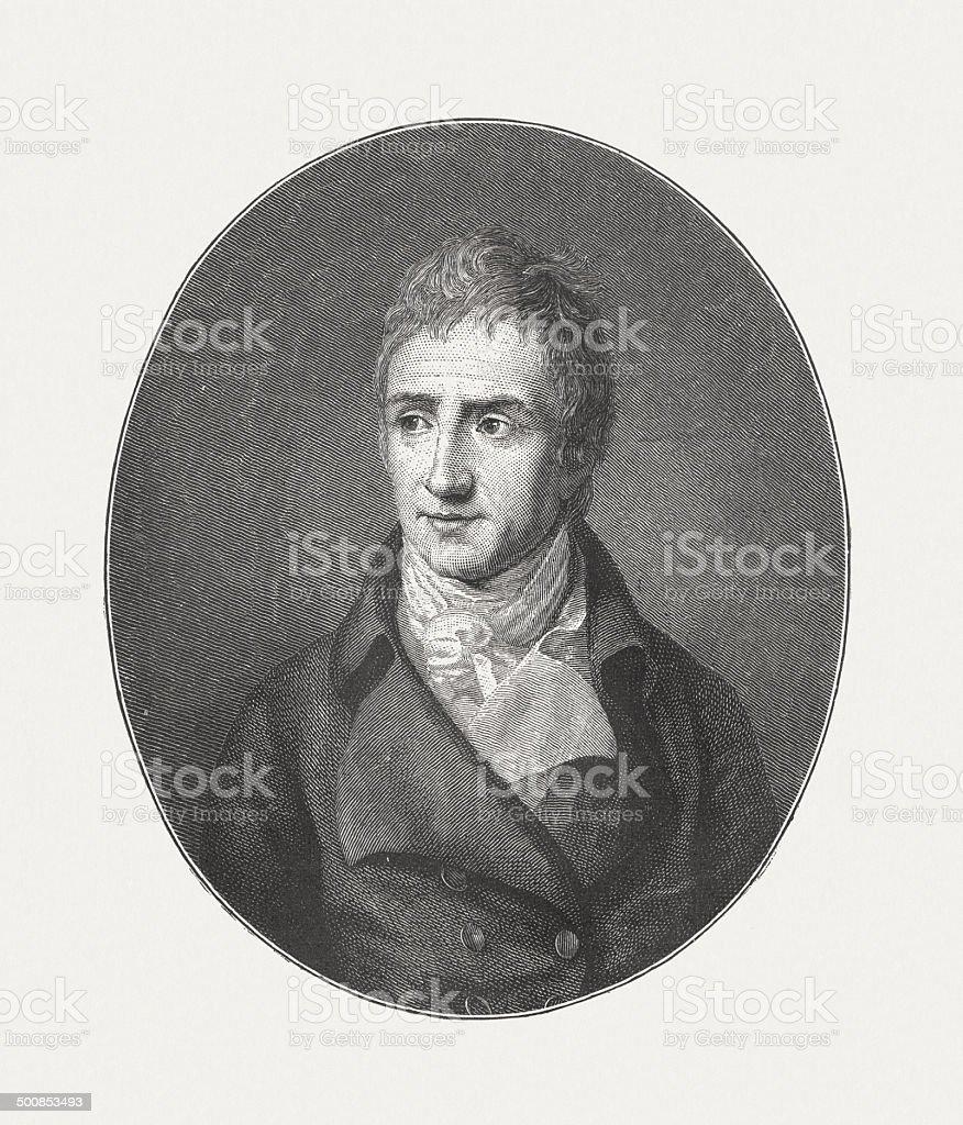 August von Kotzebue (1761-1819), German dramatist, wood engraving, published 1882 royalty-free stock vector art