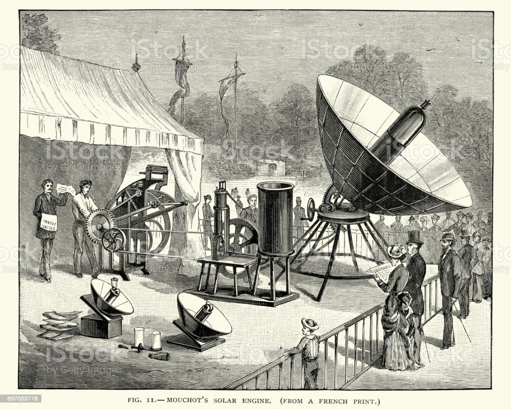 Augustin Mouchot's solar powered engine, 19th Century vector art illustration