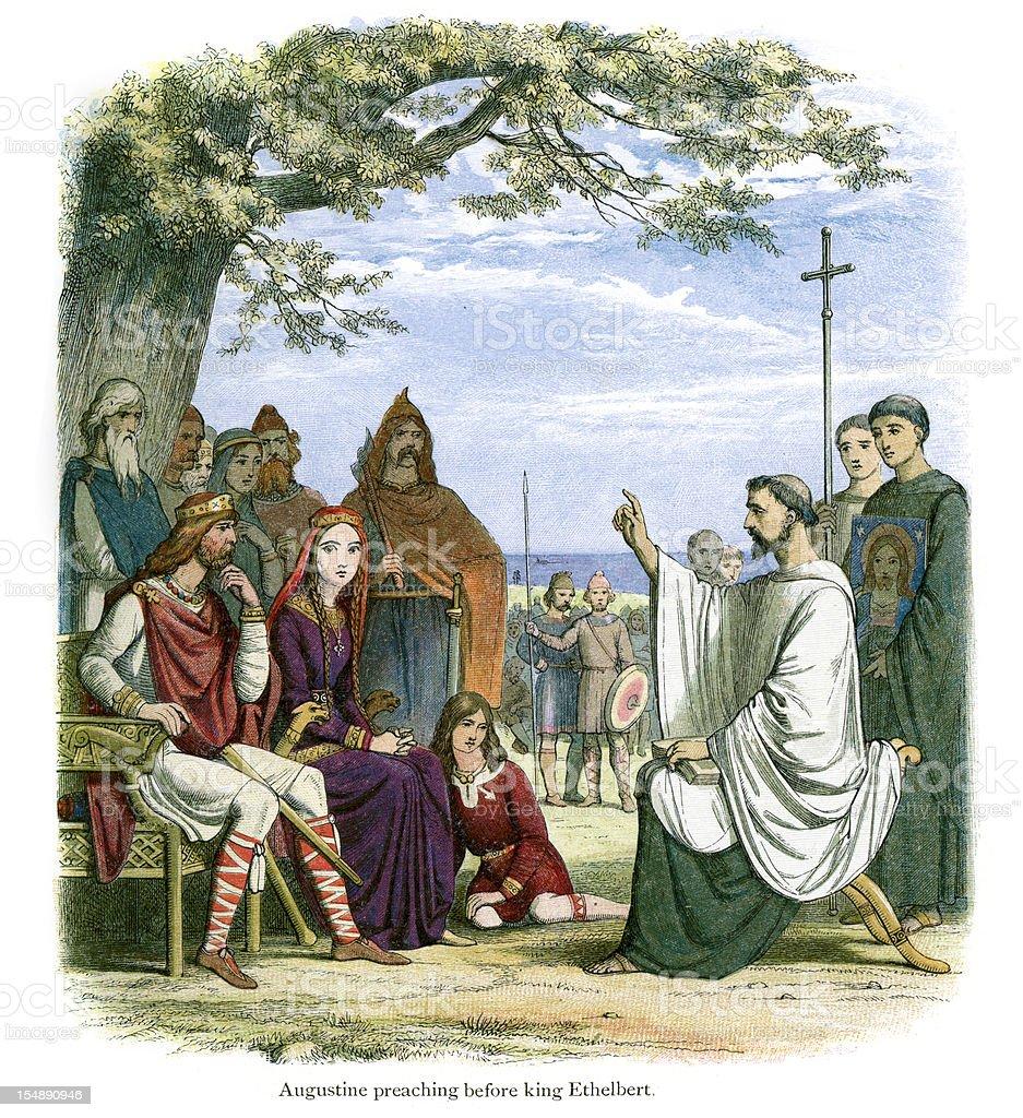Augustine preaching before King Ethelbert vector art illustration