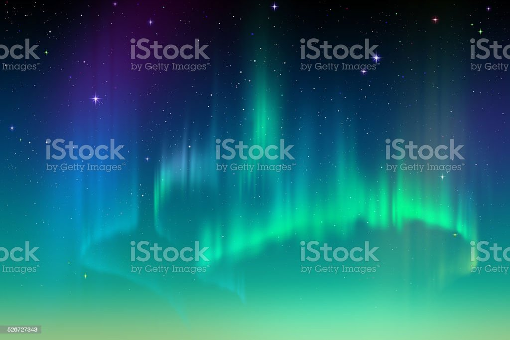Aurora Borealis abstract background, northern lights in polar sky illustration vector art illustration