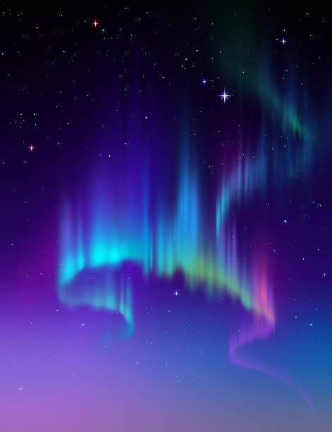 bildbanksillustrationer, clip art samt tecknat material och ikoner med aurora borealis abstract background, northern lights in polar sky illustration - northern lights