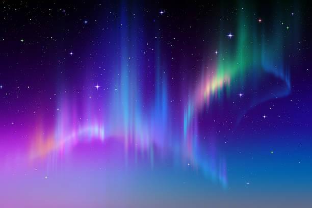 Aurora boreal Fundo abstrato de luzes do norte na polar sky ilustração - ilustração de arte em vetor