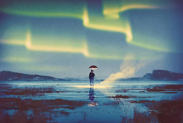 Aurora boreal de homem com guarda-chuva de luzes - ilustração de arte em vetor