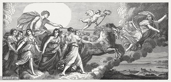 istock Aurora, fresco by Guido Reni (Italien painter), published in 1878 483313126