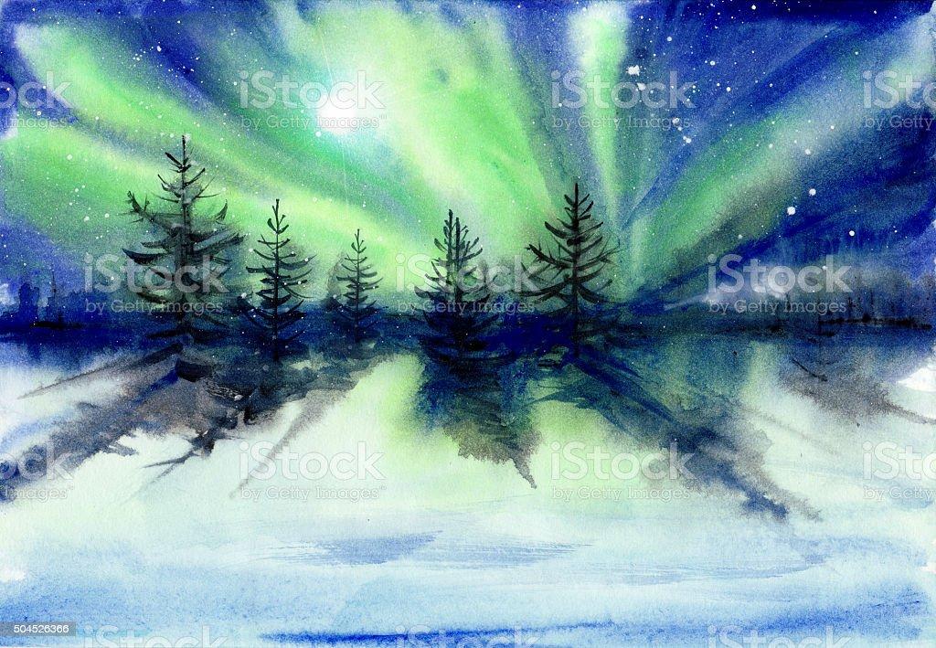 Aurora paisagem Pintura em Aquarela - ilustração de arte em vetor