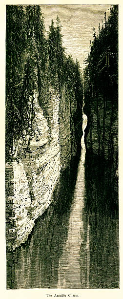 Ausable Chasm, New York, wood engraving (1872) vector art illustration
