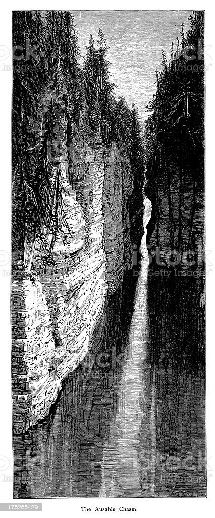 Ausable Chasm, New York, wood engraving vector art illustration
