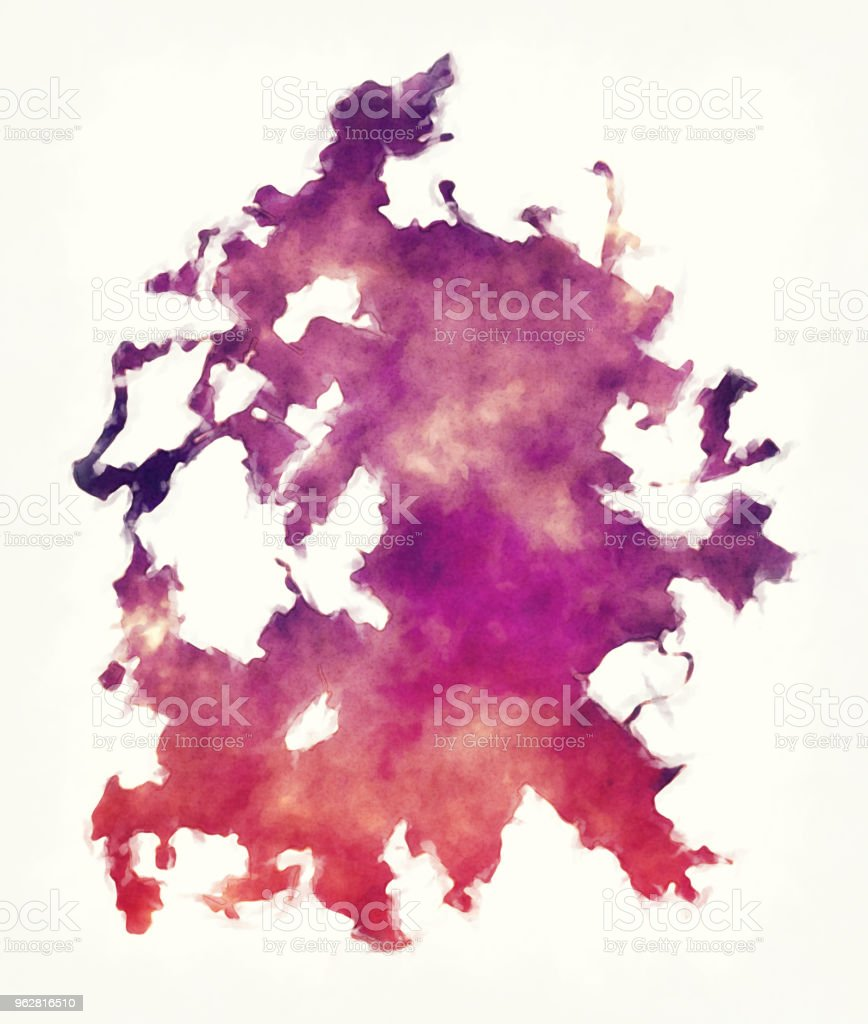 Austin Texas city watercolor map in front of a white background vector art illustration