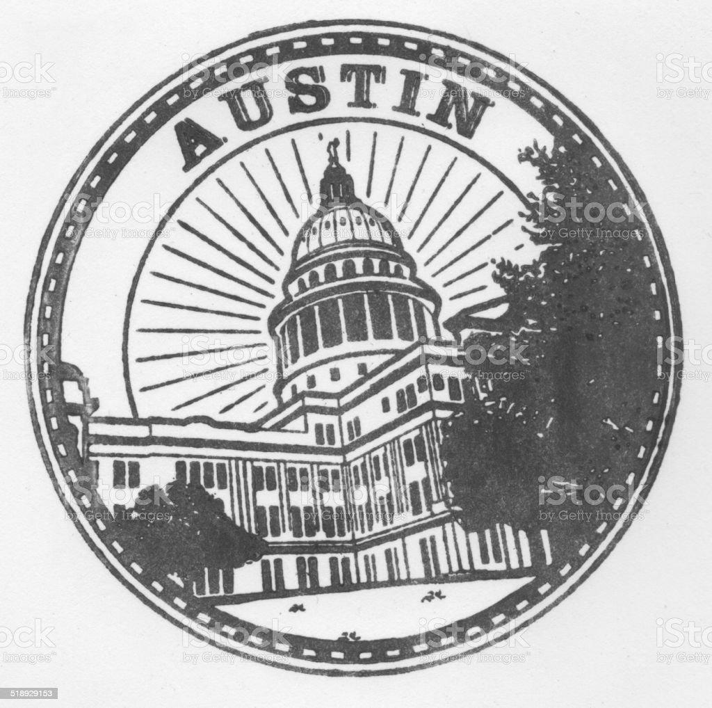 Austin Texas Stamp Genuine vector art illustration