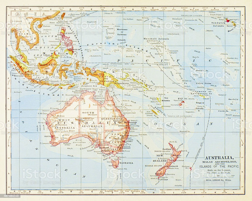 1883 Australia And Islands Of The Pacific Map stock vector art