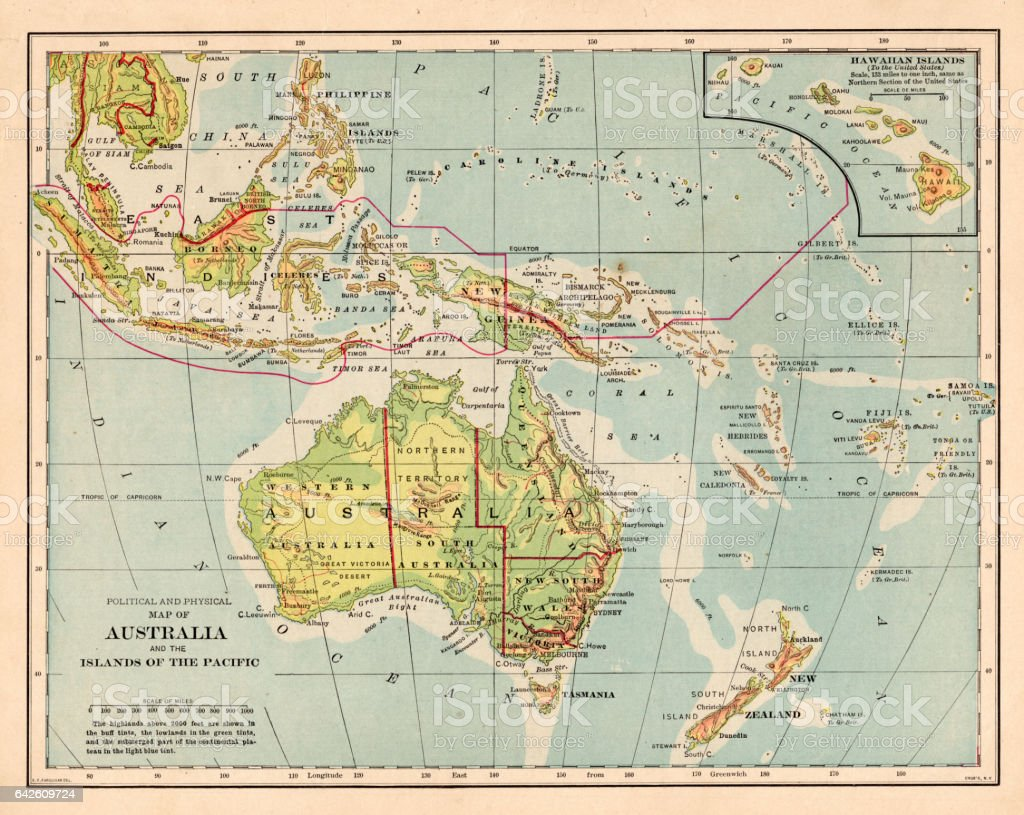 Australia And Pacific Islands Map 1898 Stock Vector Art More