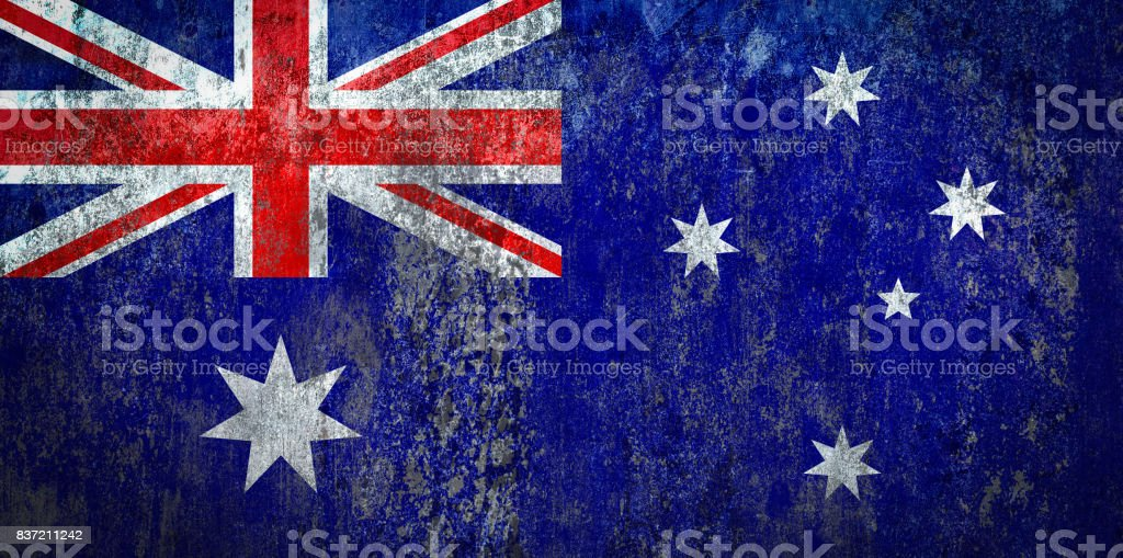 Avustralya Bayrağı Bir Duvara Boyalı Stok Vektör Sanatı Arka