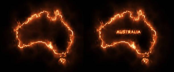 stockillustraties, clipart, cartoons en iconen met australië in brand onder bosbranden probleem conceptueel ontwerp - illustraties van bosbrand