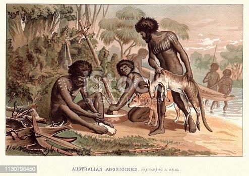 Vintage engraving of Australian aborigines, preparing a meal, 19th Century Australia