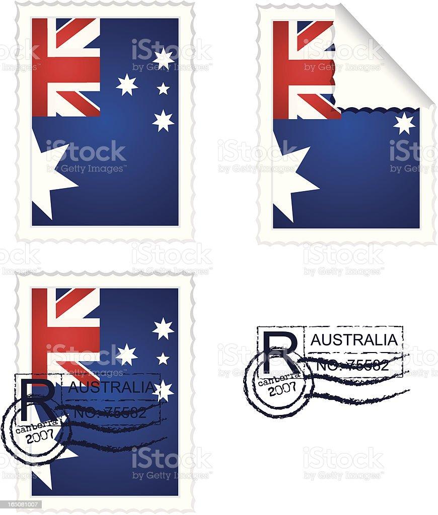 Australian Flag Stamp Set royalty-free stock vector art