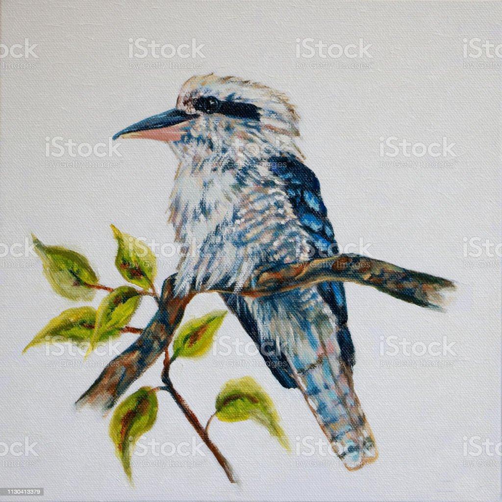 Australian Kookaburra Oil Painting vector art illustration