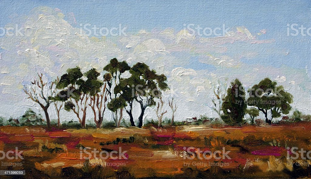 Australian Landscape Oil Painting vector art illustration