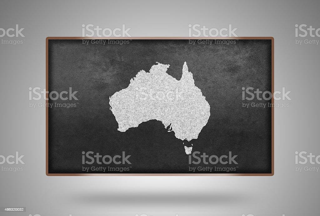 Australien Karte Auf Schwimmenden Tafel Mit Holzrahmen Stock Vektor ...