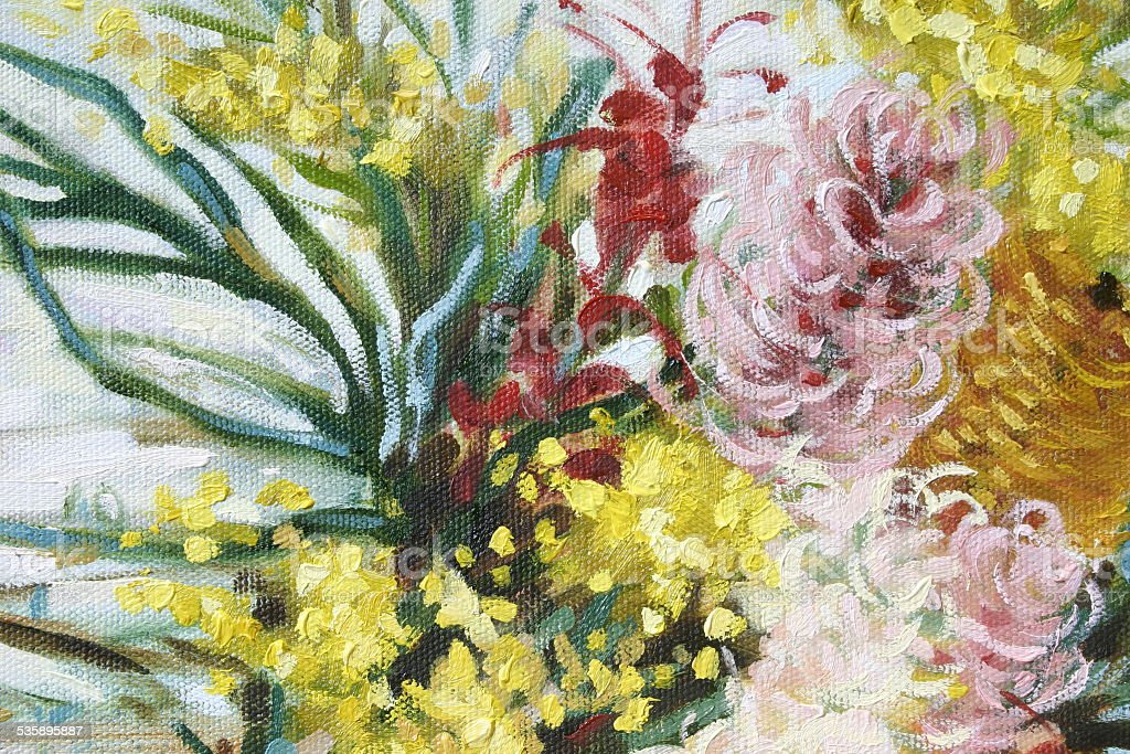 Australian Native Flowers Oil Painting vector art illustration