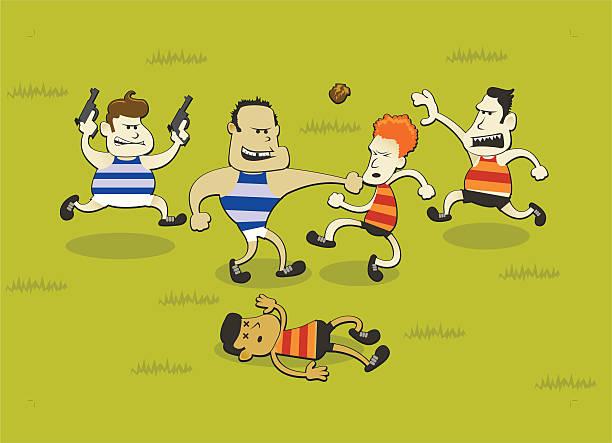 Australian Rules Football Fight vector art illustration